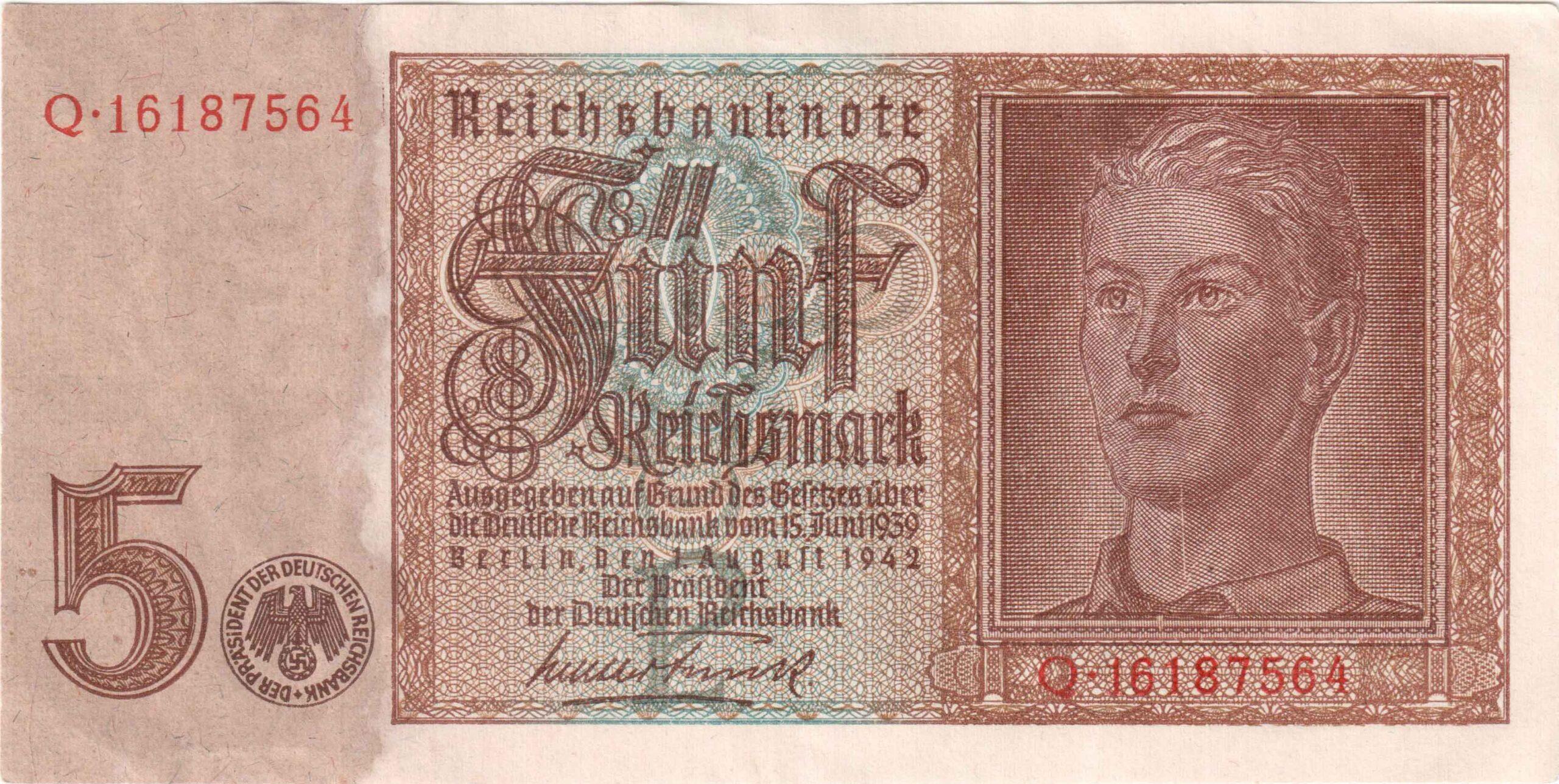 Fünfmarkschein der Reichsbank von 1942, Ro. 179, Vorderseite