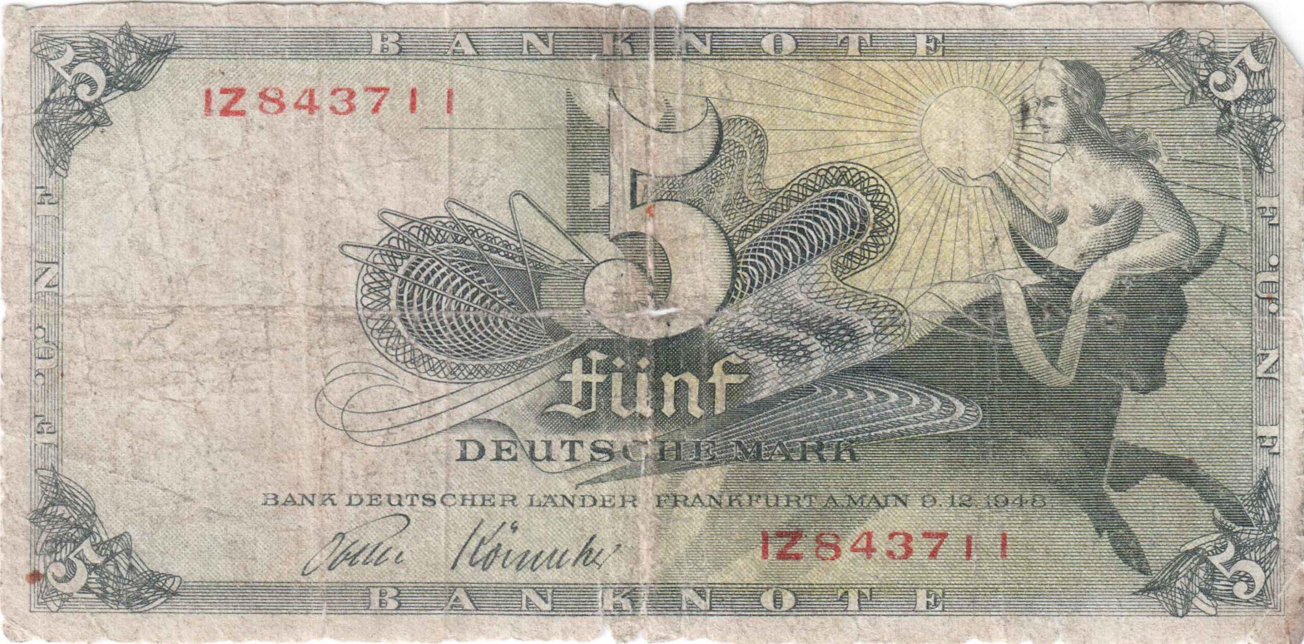Fünfmarkschein der Bank deutscher Länder von 1948, Ro. 252, Vorderseite
