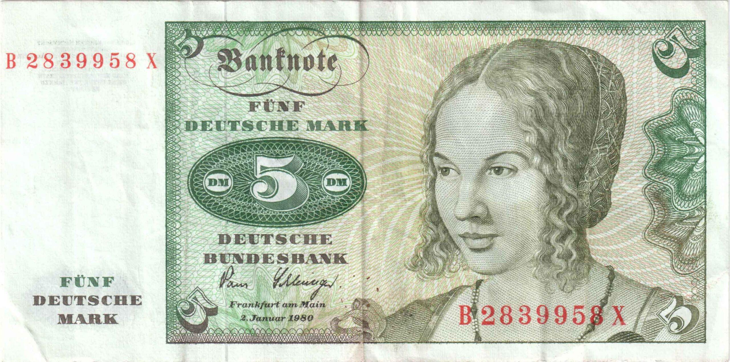Fünfmarkschein der Deutsche Bundesbank von 1980, erste Serie, Ro. 285, Vorderseite