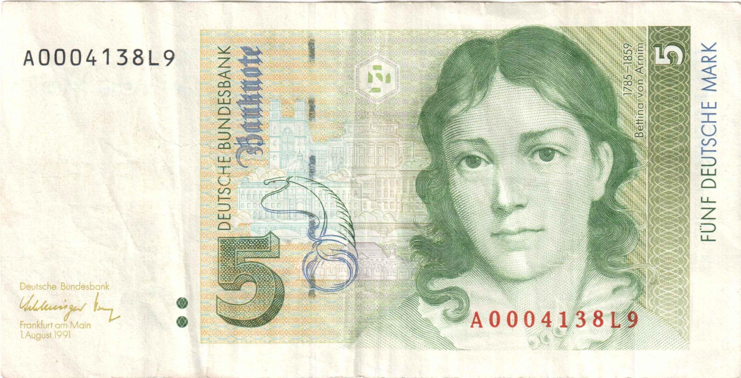 Fünfmarkschein von 1991 Deutsche Bundesbank Serie III, Ro. 296, Rückseite
