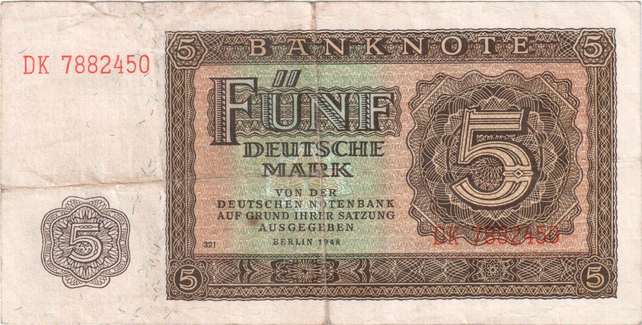 Fünfmarkschein der DDR von 1948, Ro. 342, Vorderseite