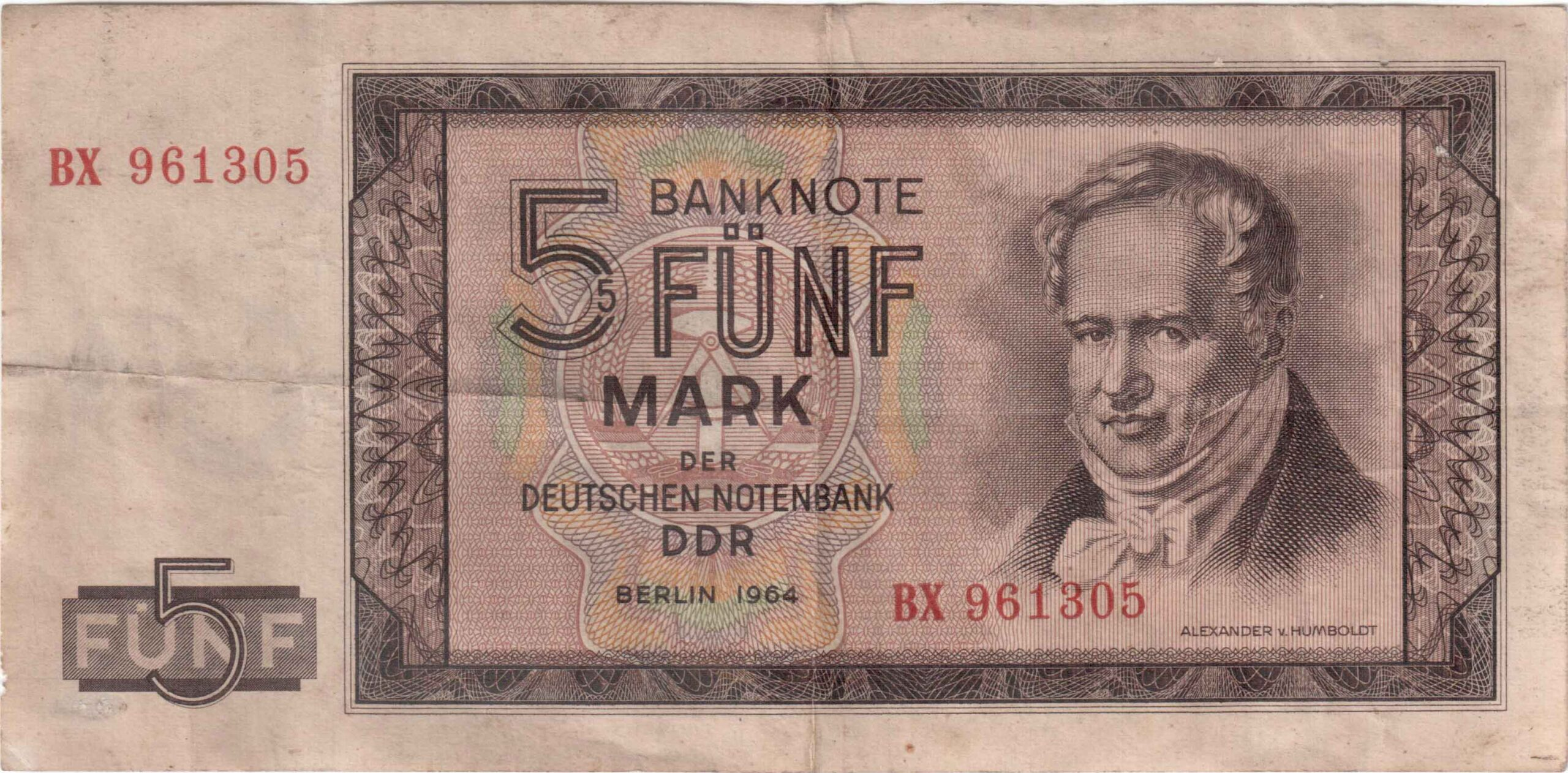 Fünfmarkschein der DDR von 1964, Ro. 349, Vorderseite