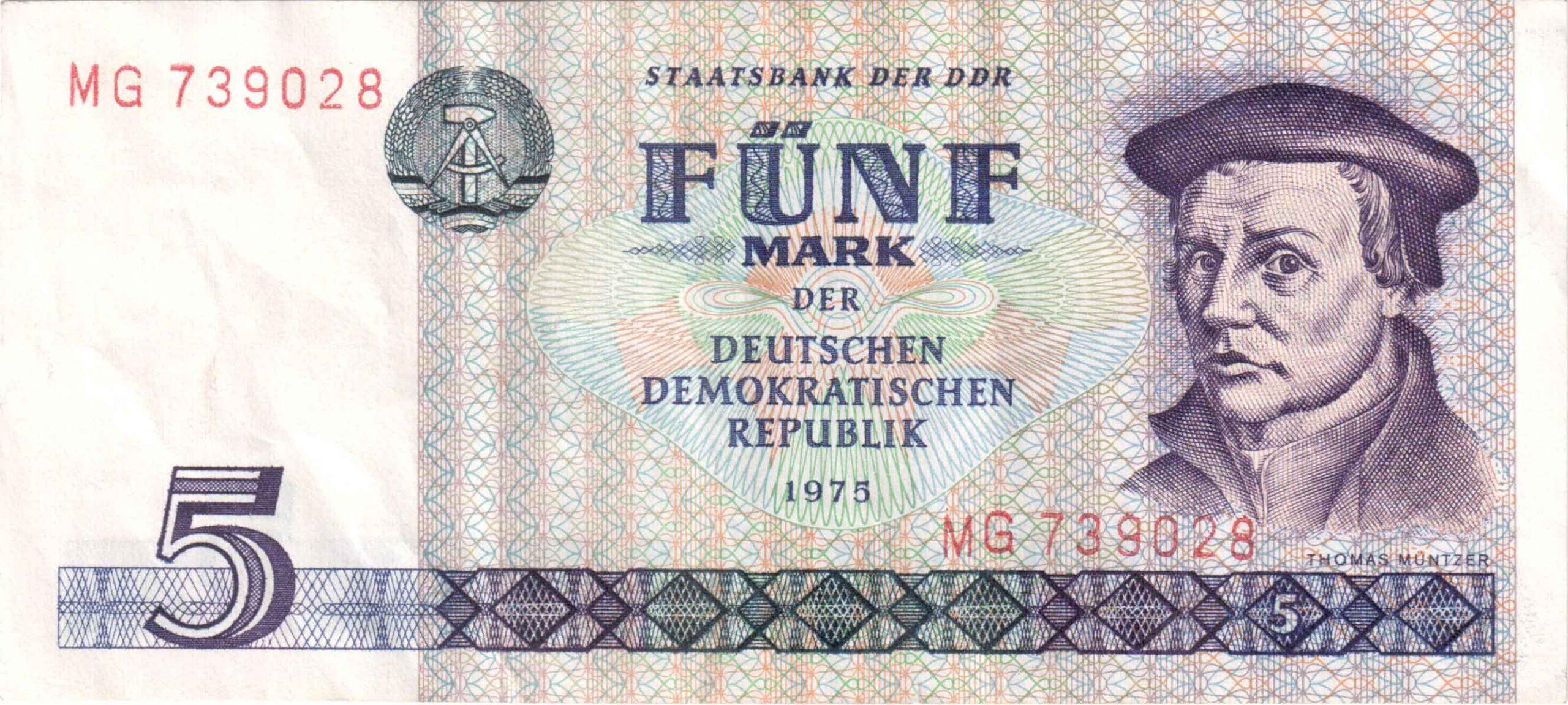 Fünfmarkschein der DDR von 1975, Ro. 361, Vorderseite