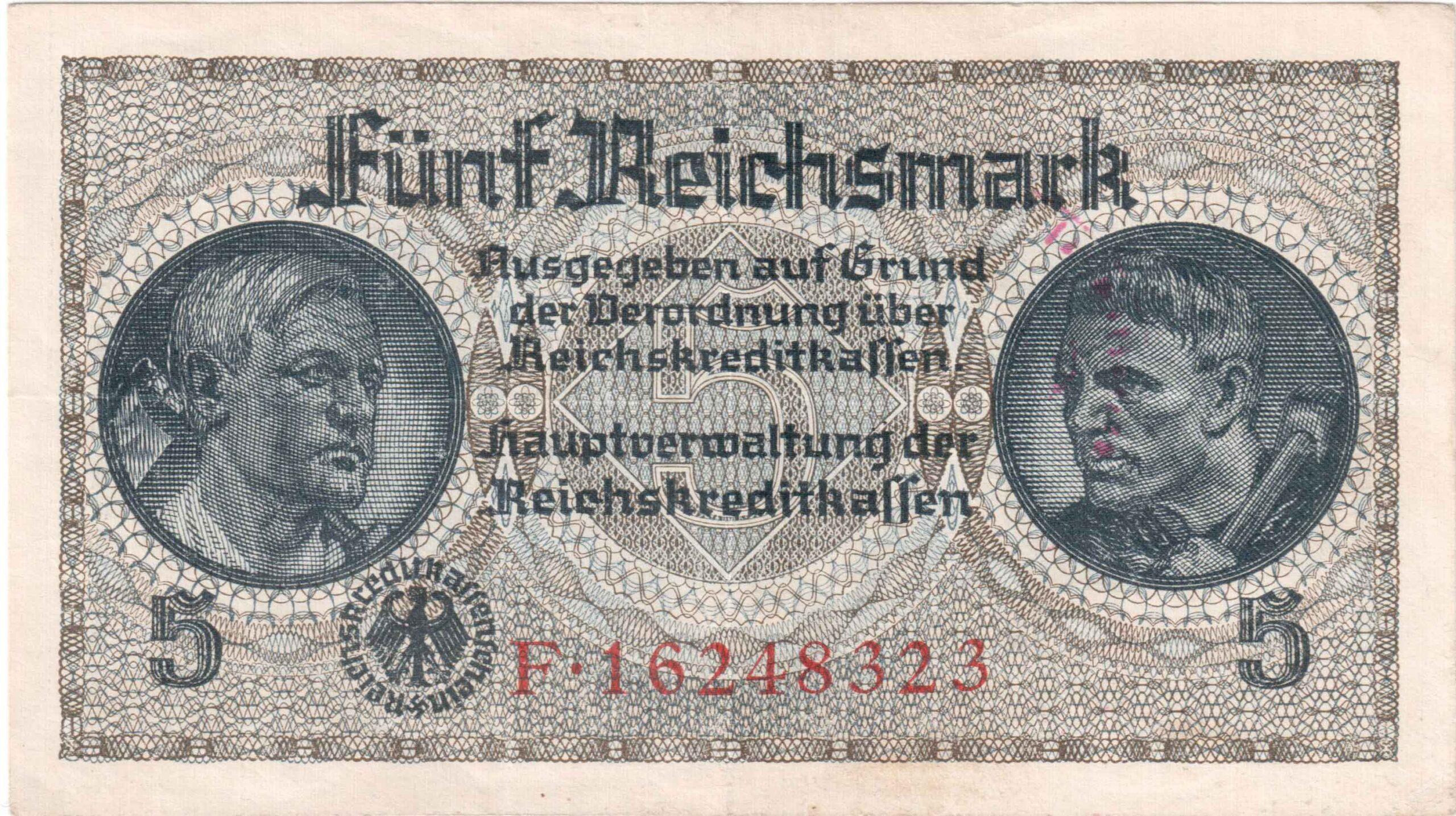 Fünfmarkschein der Reichskreditkasse von 1939, 2. Weltkrieg, Ro. 553, Vorderseite