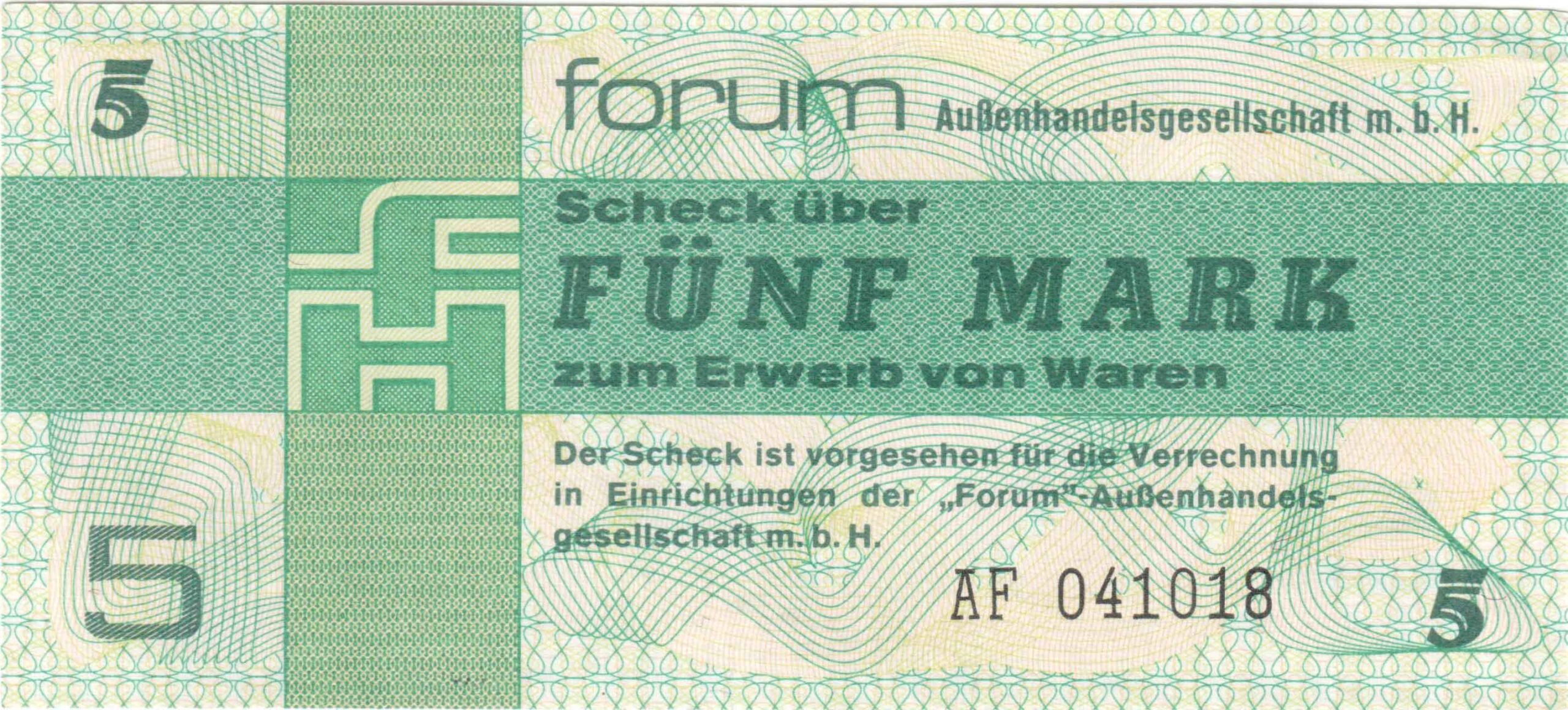 Fünfmarkschein zum Bezahlen in den Valutaläden Forum der DDR von 1979, Ro. 369, Vorderseite