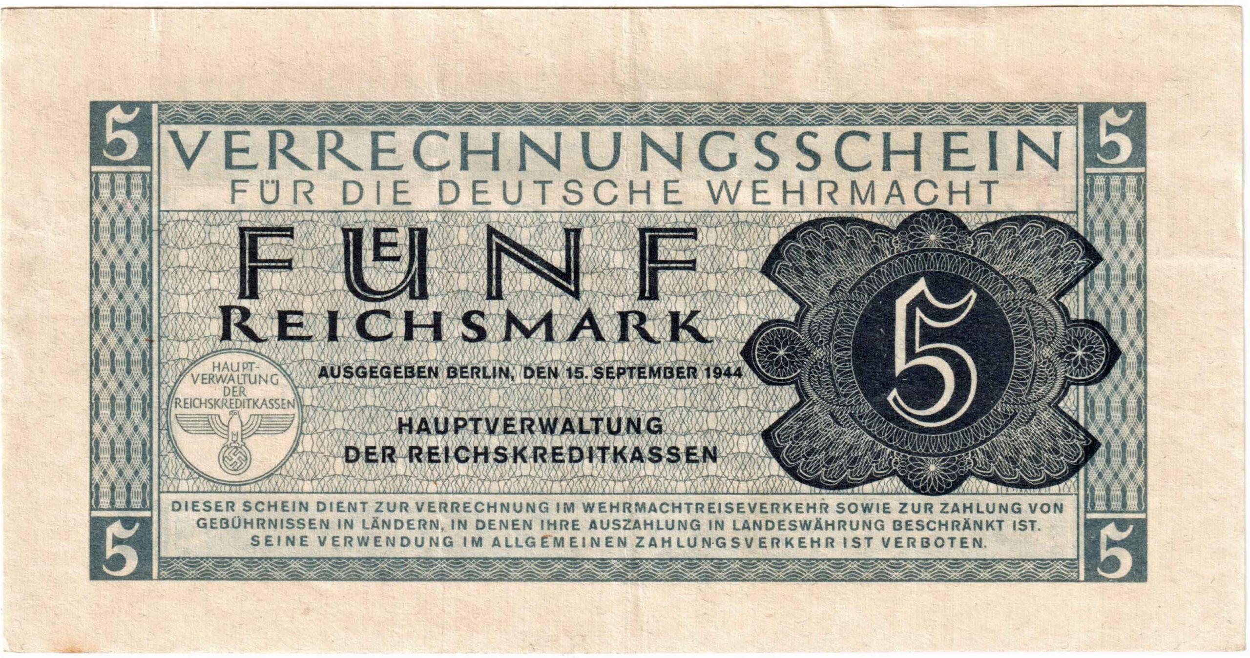 Fünfmarkschein der Wehrmacht von 1944 , Ro. 512, Vorderseite