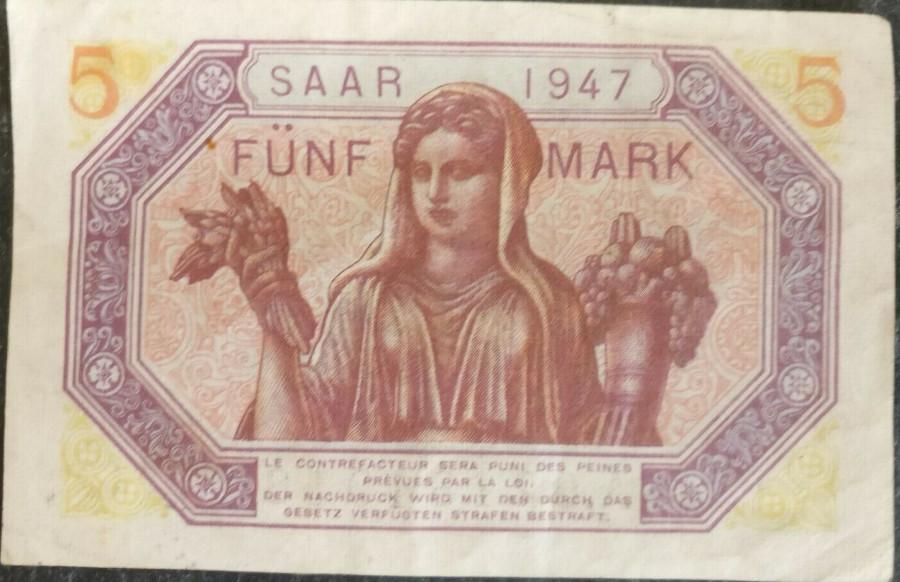 5-Saar-Mark-1947 Rückseite